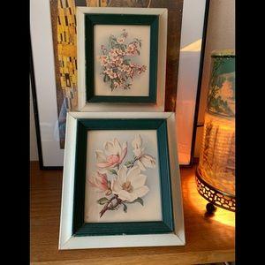 Vintage 1950's Dogwood Prints in Frames